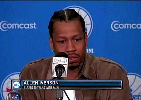 Allen Iverson Cries During Press Conference With 76ers
