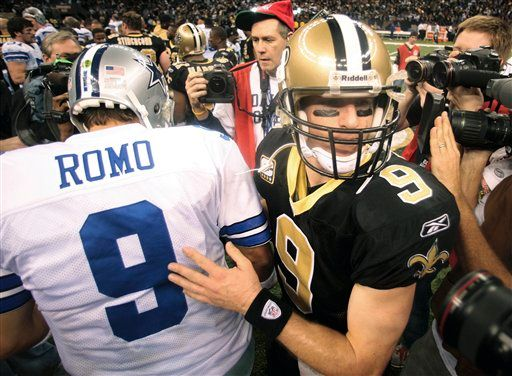 Drew Brees taps Dallas Cowboys quarterback Tony Romo