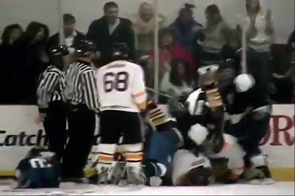 High School Girl Fights In Boys Hockey Game