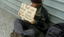 Homeless Guy Claims Affair With Tiger Woods Sign