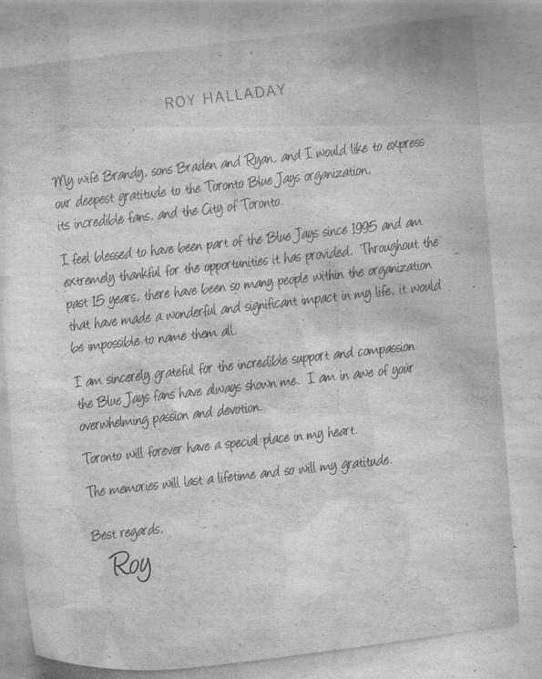 Roy Halladay Writes Thank You Letter to City of Toronto