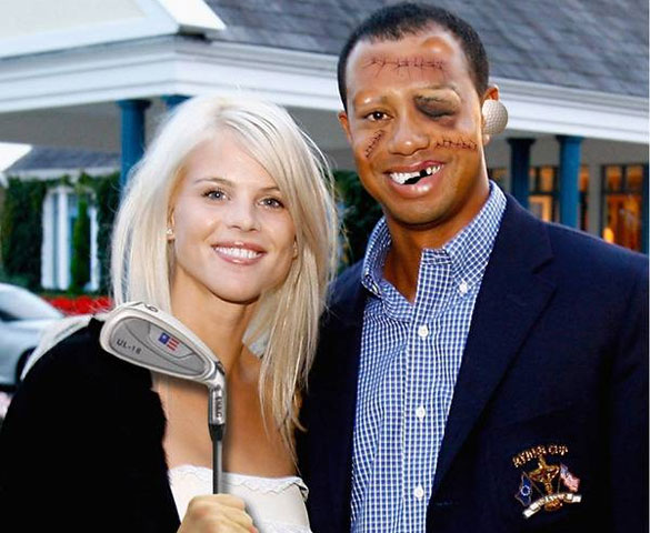 Tiger Woods Beat up by His wife