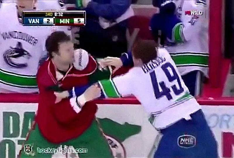 Bigfoot Beats Down Bolduc During Canucks-Wild Game