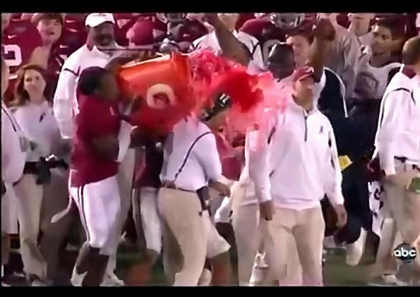 Coach Nick Saban Cracked in Face By Gatorade Cooler