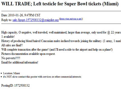 Craigslist Ad Will Trade Left Testicle For Super Bowl Tickets