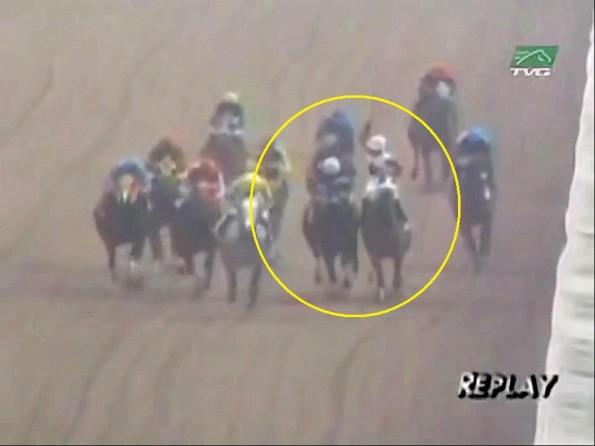 Jockeys Fight on Horses During Race
