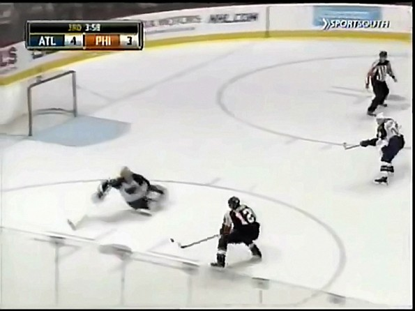 Johan Hedberg Takes Out Simon Gagne for Hilarious Save
