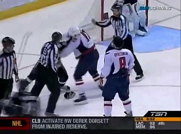 Matt Bradley Moves in and Fights for Alex Ovechkin