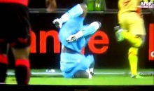 Oops! Soccer Goalie Falls on Head During Routine Play