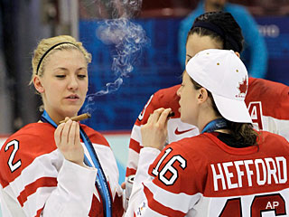 Canadian women's hockey team for celebration