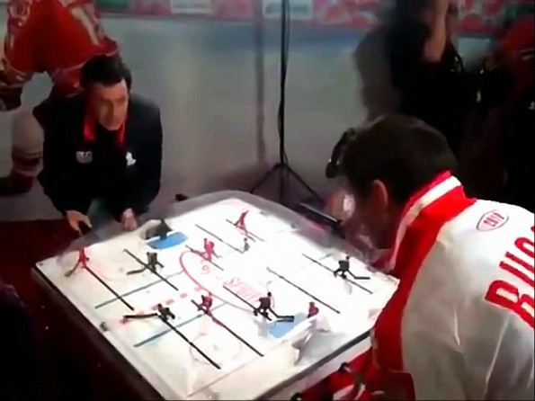 Colbert Shows Off His Table Hockey Skills Against the Russians