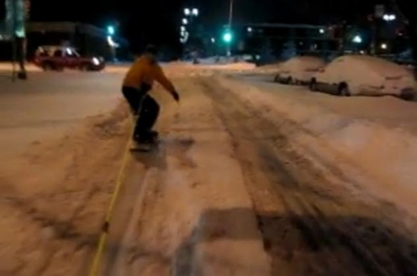 Even The Cops Enjoy Extreme Street Snowboarding