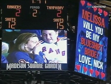 Video Board Marriage Proposal Goes Wrong During Hockey Game