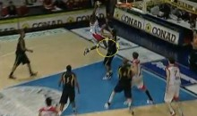 Tony Skinn Uses Opponent's Groin As Springboard For Dunk