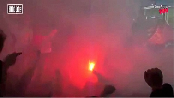 German Soccer Fan's Feet Catch Fire