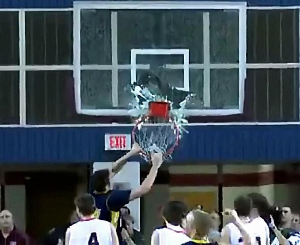 High School Dunker Shatters Backboard