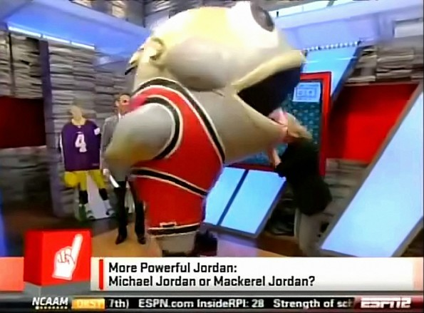 Inflatable Dong-Tongued Mascot Returns To Eat ESPN's Michelle Beadle