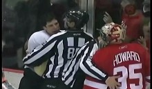 Sidney Crosby Eats Jimmy Howard's Glove (Video)