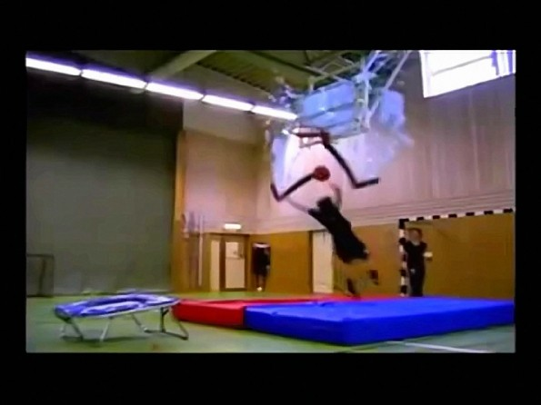 Trampoline Dunk Shatters The Backboard