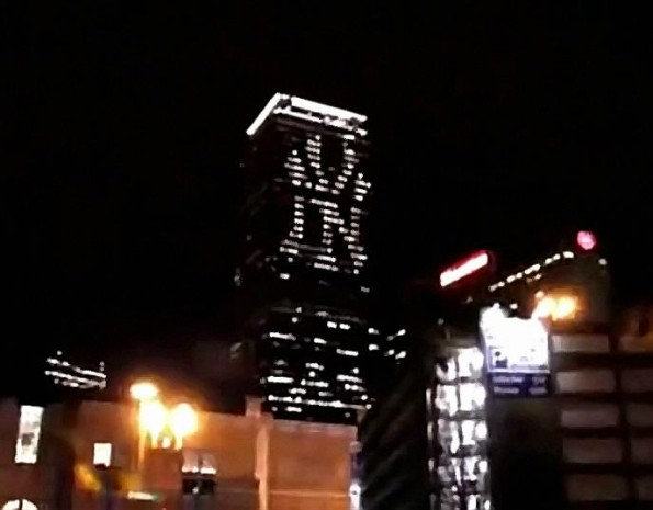 Yankee Symbol Lights Up Prudential Building in Boston