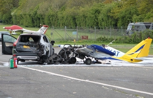 British Drag Race Interupted When Small Aircraft Crashes Into SUV