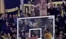 Crazy Drunk Greek Fan Climbs on Basket During Game (Video)