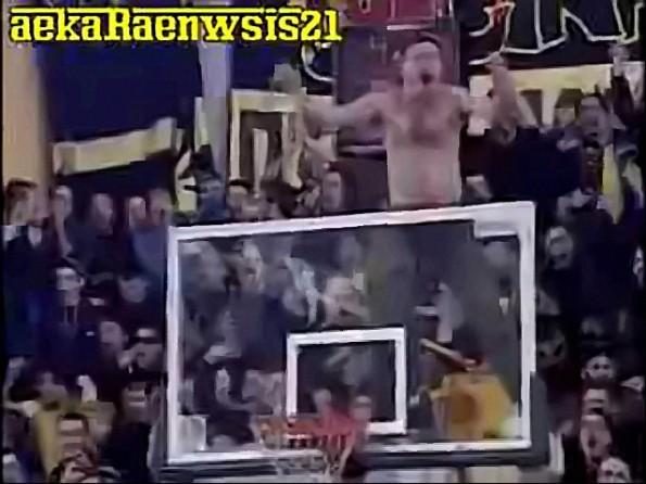 Crazy Greece Fan Gets on Back of Basket