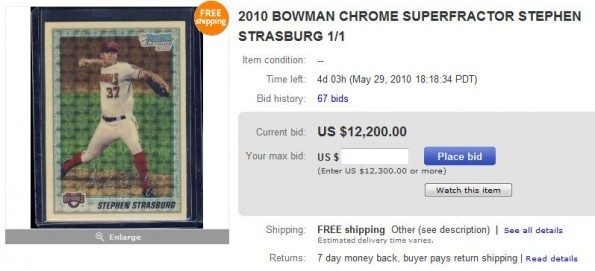 Stephen Strasburg ebay card sale