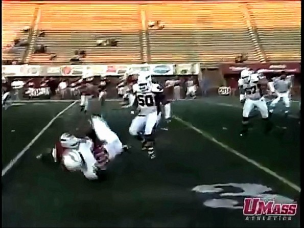 UMass QB Gets Mack Trucked