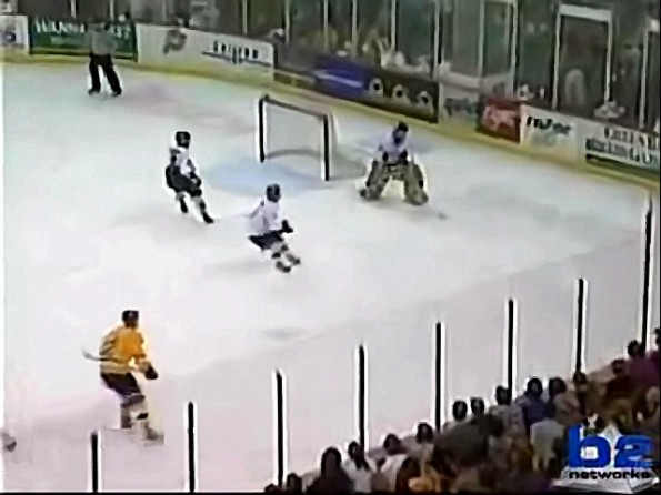 USHL Hockey Goalie Shoots and Scores