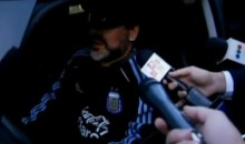 Argentine Coach Diego Maradona Runs Over A Reporter's Leg (Video)