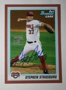 2010 Bowman Stephen Strasburg Red Autograph card