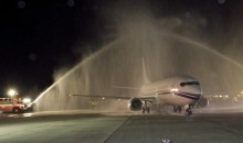 Picture Of The Day: Welcoming The Cup With A Water Cannon Salute