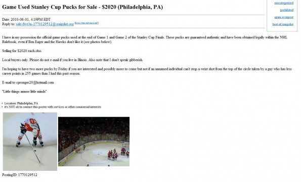 craigslist pronger pucks