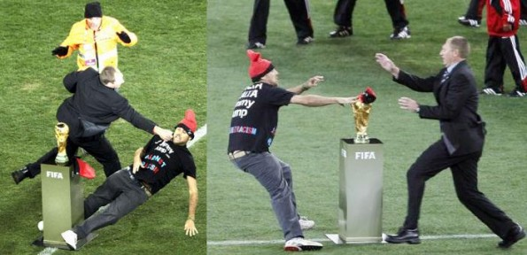 Jimmy Jump Attempts To Touch World Cup Trophy Gets A