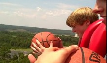 Amazing Basketball Shot From Free Fall Ride (Video)