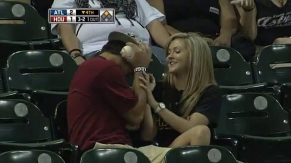Astros Fan Lets Foul Ball Hit Girlfriend