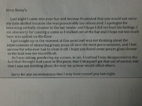 Picture Of The Day Best Sports Bar Apology Letter Ever Total Pro