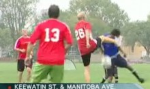 Winnipeg's Mayor Soccer Kicks Kid's Face (Video)