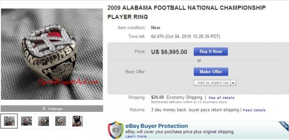 alabama national championship ring on ebay