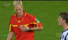 German Footballer Accidentally Slaps Female Ref's Boob (Video)