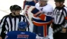 Isles' James Wisniewski Flashes Obscene Gesture At Rangers' Sean Avery (Video)