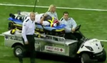 Member Of The Chain Gang Stretchered Off Following Brutal Sideline Collision (Video)