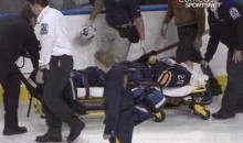 Sabres' Pominville Stretchered Off After Brutal Hit From Hjalmarsson (Video)