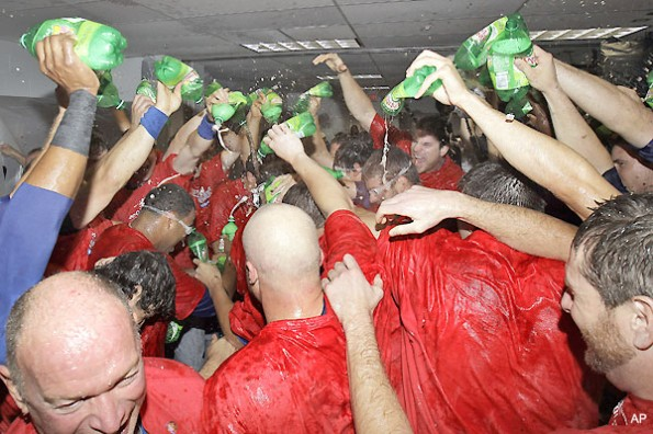 josh hamilton doused with ginger ale
