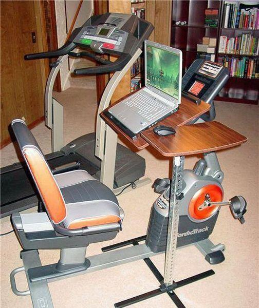 computer and stationary bike