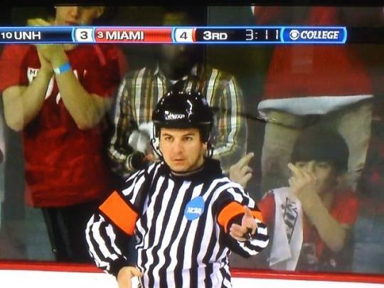 miami ohio fan gives ref finger