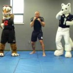 Georges St. Pierre Teaches Mascots Some MMA
