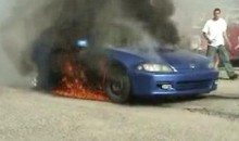 Honda Civic Bursts Into Flames During Burnout FAIL (Video)