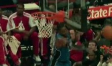 Dwight Howard Headbutts Backboard While Blocking Luol Deng Shot (Video)